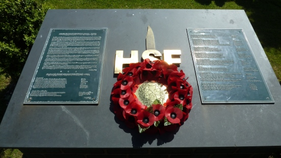 The HSF Grove Plinth with The ICCY Wreath of Remembrance, on Saturday 17th May 2014